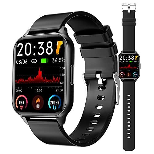 Smartwatch Reloj Inteligente Con Pulsómetro, Cronómetros, Calorías, Monitor De Sueño, Podómetro Pulsera Actividad Inteligente Impermeable IP67 Smartwatch Hombre Reloj Deportivo Para Android Ios,Negro