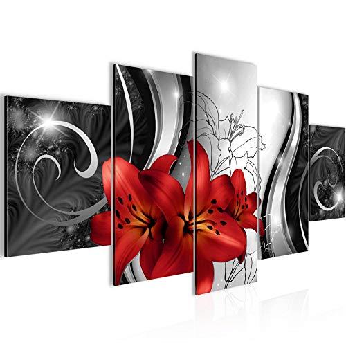 Bilder Blumen Lilien Wandbild Vlies - Leinwand Bild XXL Format Wandbilder Wohnzimmer Wohnung Deko Kunstdrucke Rot Grau 5 Teilig - MADE IN GERMANY - Fertig zum Aufhängen 208453c