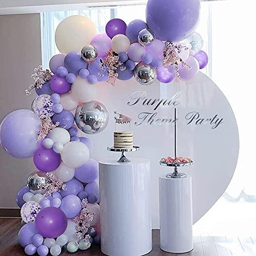 Decorazioni compleanno viola, palloncini viola pastello, kit ghirlanda arco palloncini viola grigio macaron, palloncini argento viola metallizzato, palloncini coriandoli viola, palloncin bianchi