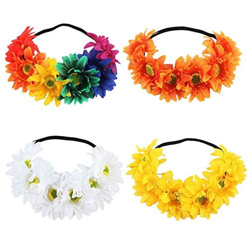 4 Piezas diadema flores Flor corona diadema corona Colorido Artificial Sun Flor de la venda Boho de las mujeres Flor Festival de la boda Guirnalda Accesorios del casco para la mujer niña