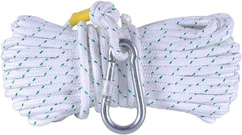 LIZIPYS Cordes Corde de Prougeection de sécurité, Ligne de Vie Blanche du Crochet Simple à Crochet de 12mm   14MM - appropriée aux Sorties de Secours aux Aides d'escalade au Sauvetage