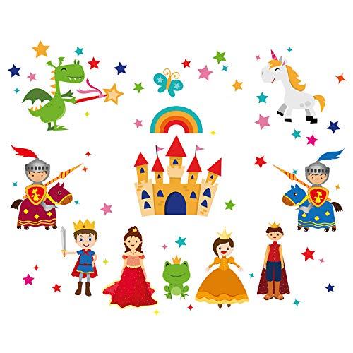 ufengke Pegatinas de Pared Principe y Princesa Vinilos Adhesivos Pared Castillo Caballeros Decorativos para Dormitorio Habitación Infantiles Bebés