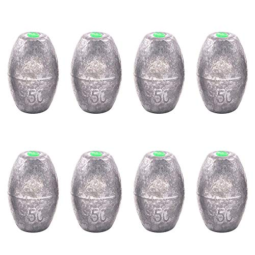 Swpeet 8Pcs 50g Egg Olive Shape Sinkers Fishing Sinkers Worm Sinker Fishing Weights Bass Casting Bullet Weight for Rig Fishing