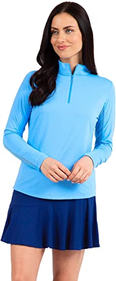 IBKUL Women's Sun Protective UPF 50+ Cooling Solid Long Sleeve Mock Neck Top 80000