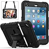 Weuiean iPad Mini 5/4th Gen 7.9 Inch Case 360 Degrees Rotate Hand Controlling Case with Built-in Stand Screen Protector, Full-Body Shock Proof Protective Case for iPad Mini 4th/ 5th Gen - Black