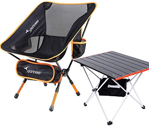 Sportneer Camping Table, Portable Ultralight Folding Camp Chair, Heavy Duty 350lbs Capacity for Outdoor Camping, Backpacking, Hiking, Picnic, BBQ