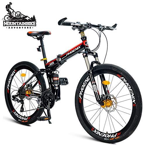NENGGE 26 Pollici Mountain Bike con Biammortizzata per Adulti Uomo/Donna, 21 velocità Unisex Pieghevole Mountain Biciclette, Doppia Freni a Disco, Resistente,Nero,Spokes
