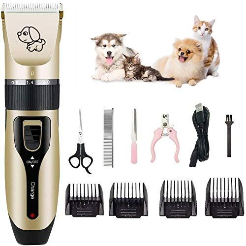 KEYNICE, tagliacapelli professionale per cani senza fili, tagliacapelli elettrico a basso rumore, ricaricabile tramite USB, con 4 pettini, forbici, tagliaunghie per cani e gatti