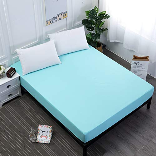 Solid Color Bed Mattress Cover Waterproof Mattress Protector Pad Fitted Sheet Bug Proof Mattress Topper Bed Linens with Elastic,Lake Blue,200 * 200 * 30cm