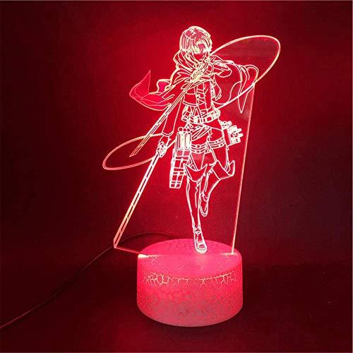 Attack On Titan 3D LED noche luz 3D ilusión óptica lámpara Levi Ackerman 16 colores regulable USB Powered Control táctil con control remoto, regalos creativos para niños de 10 años
