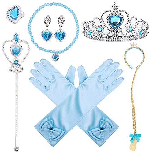 VGOODALL Eisprinzessin Kostüme Set, 7 Zubehör ELSA Prinzessin Handschuhe Krone Zauberstab Halskette für Mädchen Kinder Weihnachten Kostüme