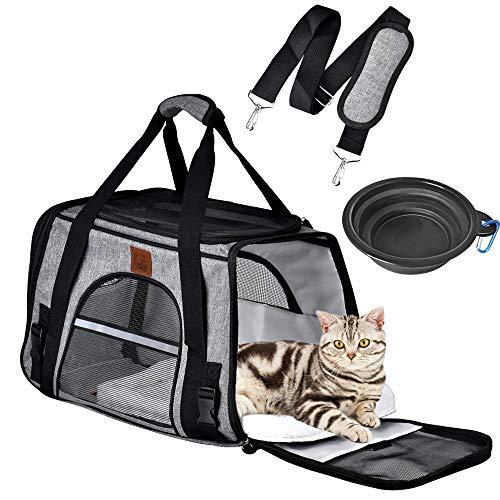 Queta Hundetasche Transporttasche mit Fressnapf Katze Pet Faltbare Haustiertragetasche Tragetasche Transportbox für Kleine Hunde Katze Katzentransportbox