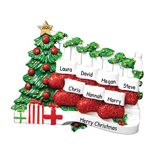 Personalized Bannister Stockings Family of 7 Christmas Tree Ornament 2020 - Stuffers Together Year Holiday Tradition Activity Grand-Kid Winter Friend Mother Father Stairs Gift - Free Customization
