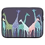 Colored Giraffe Pattern 13-15 Inch Laptop Sleeve Bag Portable Dual Zipper Case Cover Pouch Holder Pocket Tablet Bag,Water Resistant,Black