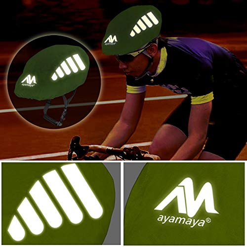 AYAMAYA Fahrradhelm Regenschutz Helmüberzug Reflektierend, Wasserdichter Regenhaube Fahrradhelm Regenüberzug Helm Cover Helmschutz Fahrrad mit Kordelzug und Reflektor-Elementen - 4