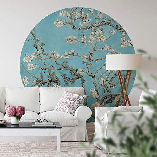 Tapete Fototapete Vlies Vliestapete Rund van Gogh - Mandelblüte Schlafzimmer Wohnzimmer Wanddeko Tapetenpaneele inkl. Schablone (140x140 cm)