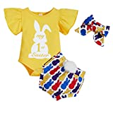 My 1st Easter Outfits Infant Baby Girl Rabbit Ruffle Sleeve Romper+Bunny Print Short Pants+Headband Clothes Set (Yellow, 6-9 Months)