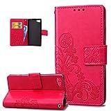Kompatibel mit Sony Xperia Z5 Compact Hülle,Prägung Klee Blumen Muster PU Lederhülle Flip Hülle Cover Schale Ständer Wallet Hülle Handyhülle Schutzhülle für Sony Xperia Z5 Compact,Klee Blumen:Rose Red