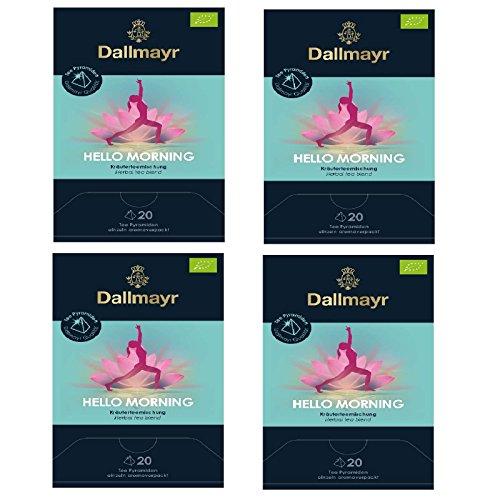 4 x Dallmayr Hello Morning Bio Kräutertee 20 Pyramiden x 2,5g