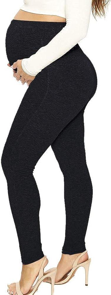 laamei Femme Pantalon Maternit/é Enceinte Leggings de Grossesse Longue Legging Stretch pour Printemps et Automne