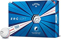 ERC soft is our longest callaway golf ball with soft feel A graphene infused dual soft fast core maximizes compression energy while minimizing driver spin and promoting high launch for long distance New triple track technology helps to improve alignm...