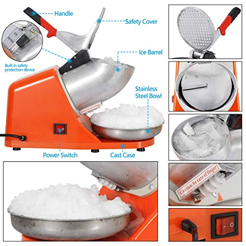 Smartxchoices Electric Ice Shaver Machine Ice Snow Cone Maker for Home Commercial Use 143 lbs New, 300W Stainless Steel Blade