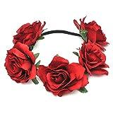 Frcolor Diadema de flores Diadema Floral Cinta de Rosa(Rojo oscuro)