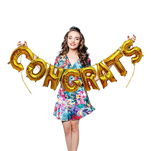 Treasures Gifted Metallic Gold Congrats Foil Mylar Balloons 16 Inch Hanging Letters Banner Garland for Congratulating Graduate Wedding Engagement Bachelorette Party Supplies