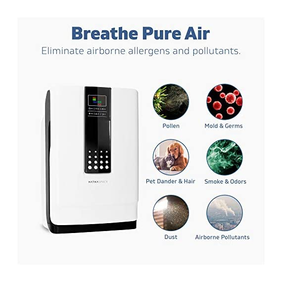 Hathaspace smart true hepa air purifier for home, 5-in-1 large room air cleaner for allergies, pets, asthma, smokers… 4 purify your air: protect your family from home air pollutants like dust mites, pollen, pet dander, pet hair, odors, smoke, and voc's. Our 5-in-1 true hepa air purifier captures particles you can't see, filtering 99. 97% of pollutants as small as 0. 3 microns. Breathe easier: nothing feels better than breathing clean air. Read our 5,000+ reviews and see just how much our air purifier has helped with common allergy symptoms like sneezing, coughing, and irritated eyes. Remove odors, smoke, & voc's: both an air cleaner and odor eliminator, our air purifier features a unique honeycomb activated-carbon filter that absorbs odors, smoke, and voc's. Ozone-safe and fully approved by carb, an anion generator can be separately turned on to target the most stubborn odors like litter boxes, cigarettes, and old homes.