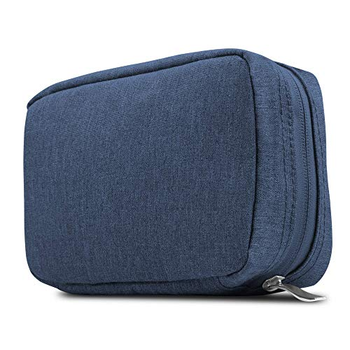GMYLE Soft Fleece Fabric Storage Pouch Bag Organizer Sleeve Case Portable Travel Kit 7 Inch for Laptop Accessories(USB, Cable, Mouse, Charger, Adapter, Earphones, Flash Hard Drive & More)-Navy Blue