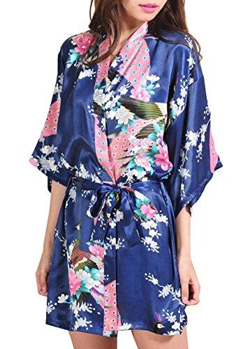 DELEY Mujer Albornoces Kimono Pavo & Flores Satén Pijamas Exóticos Ropa De Dormir Bata Corto Talla S Azul Oscuro
