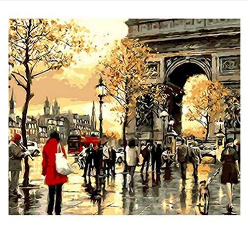 DIY Pintura al óleo Dibujodiy pinturas al óleo por números El arco de triunfo de París cuadros decorativos para el hogar pintura artesanal única por números