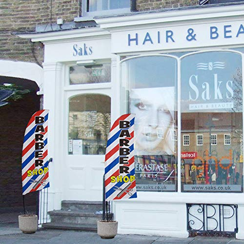 QSUM Friseurladen Bali-Fahnen | Barber Shop Swooper Flagge, Premium Anzeigenschaltung Werbebanner (8Ft, Windstill)