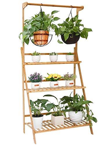 Joycelzen Estantería para Macetas para Plantas, Escalera para Flores Plantas Estante Soporte de Flore con 3 Niveles y Barra de Colgar para Exterior Jardín y Interior Balcón