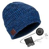 HK Unisex Bluetooth Winter Mütze - Music Headset Beanie Bluetooth mit Stereo Kopfhörern, Eingebautem Mik, Freisprechan (6h Laufzeit) - Bluetooth & Smartphone Kompatibel,blueblendedweave