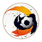 DEYYA Coasters for Drinks Abstract Football Print Leather Round Mug Cup Pad Mat for Protect Furniture, Heat Resistant, Kitchen Bar Decor, Set of 6