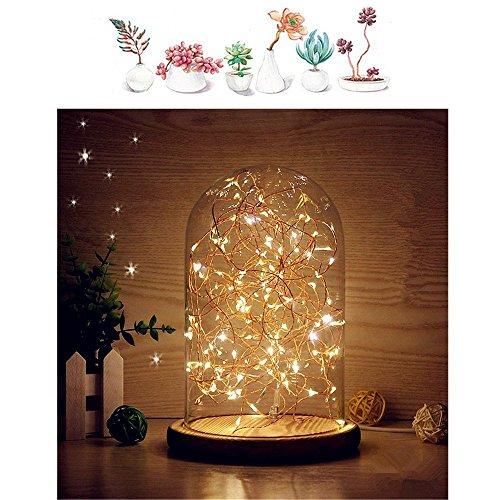 MUCHER Nachttischlampe Tischlampe aus Glasglocke Bambus Basis Nachttisch Nachttischlampe mit LED Lichterkette für Wohnzimmer, Schlafzimmer, Kinderzimmer, Bücherregal (Warmweiß)