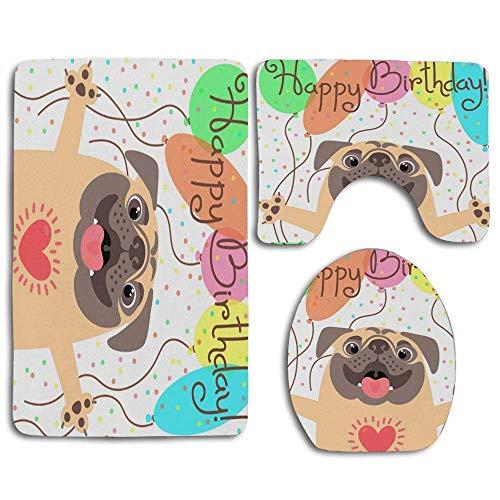 Happy Birthday Funny Puppy Cartoon Dog Party Alfombra de baño Juego de 3 Piezas Alfombra de baño Antideslizante Alfombra de Contorno y Tapa de Inodoro para baño