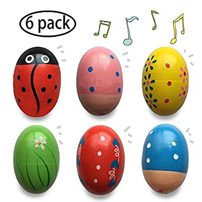 Jofan 6 Pack Wooden Percussion Musical Shake Egg Easter Egg Shakers for Kids Boys Girls Toddlers Easter Gifts Easter Basket Stuffers Fillers