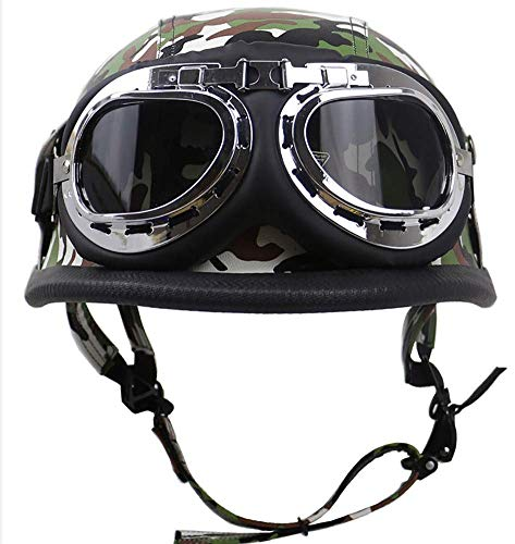 HYRGLIZI Casco de Moto Medio Casco de Cara Abierta de Estilo Vintage con Gafas, Gorra de Calavera con certificación Dot Adecuada para Hombres y Mujeres Chopper Biker Cruiser Scooter Touring Helmet 2,