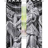 YUAZHOQI Esculturas Cortinas opacas para dormitorio Estatua de San Mateo en la Basílica de San Juan Letrán Catedral de Roma con pilares 132 cm x 213 cm Drape para puerta de cristal gris pálido