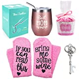Best Mom Ever Wine Tumbler + Cupcake Wine Socks,12 oz Stainless Steel Double Insulated Stemless Wine Glass with Lid and Straw, Funny Wine Gift for Women