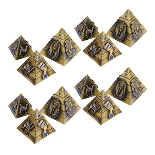 lahomia 4 Set Metal Egyptian Pyramids Statue Architectural Wonders Sculpture Bronze