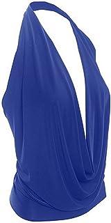 NMY Camiseta de Mujer, Blusa con Cuello en V Sexy de Verano Chaleco de Halter de Color Sólido Camisetas sin Mangas de Moda...