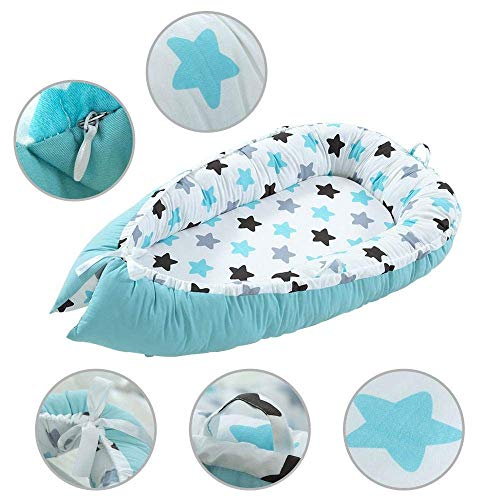 QDQBaby Nest, Baby Lounger Pillow, Cuddly Nest Baby Nest Cotton Baby Bassinet Lounger Cribs, Portable Cot Removable - for Bedroom Travel3QDQ