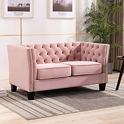 "Artechworks Loveseat Sofa Velvet Upholstered Button Tufted Nailhead Trim, Modern Armchair for Living Room, Bedroom, Home Office, Apartment, Pink Color - STYLISH TUFTED DETAIL: Features generous inside button tufting, elegantly detailed double row nail heads and wooden legs, brings elegant and sophisticated look. COMFORT: Soft velvet encases high-density foam padded cushions to give you hours of comfortable sitting without sacrificing fashion and style. DIMENSIONS: Seat Width: 42.9 ""; Seat Depth: 22.83""; Seat Height: 17.72"", Seat Back: 12.6"" ; Overall Dimension: 30.3 ""(D) x 55.5 ""(W) x 27.95 ""(H) - sofas-couches, living-room-furniture, living-room - 511z u2abiL. SS400  -"