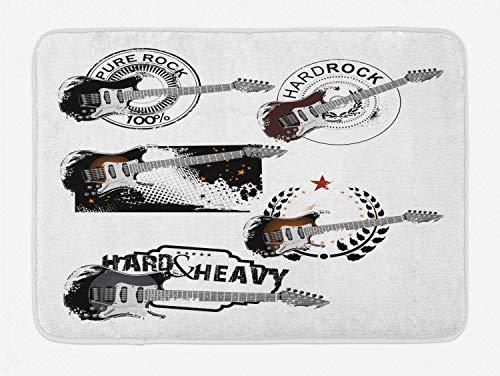 Alfombra de baño de música Rock, Varios Patrones de Guitarra eléctrica con líneas de Estrellas y arreglo de Hojas Abstracto, Alfombra de decoración de baño de Felpa con Respaldo Antideslizante