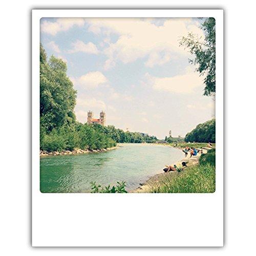 Pickmotion PolaCards München: Hochwertige Polaroid Postkarten im Retro Stil - Motiv: Isarwärme