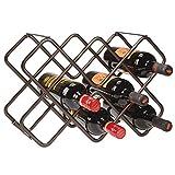 mDesign Wein- und Flaschenregal – schönes Weinregal mit drei Ebenen aus Metall für bis zu 8 Flaschen – freistehendes Regal für Weinflaschen oder andere Getränke – bronzefarben