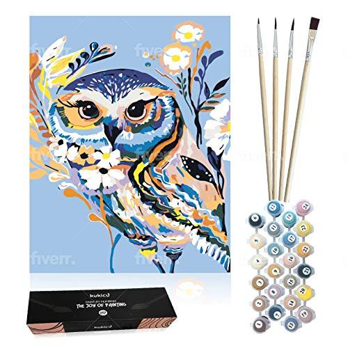 Kukicu Pintar por Numeros Adultos Niños - Cuadros para Pintar con Pinceles Lienzo Pinturas al Oleo - DIY Kit - Dibujos, Arte y Manualidades (40 * 50cm, Sin Marco) - Buho